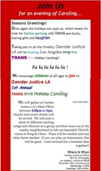 Notice about Gender Justice Caroling