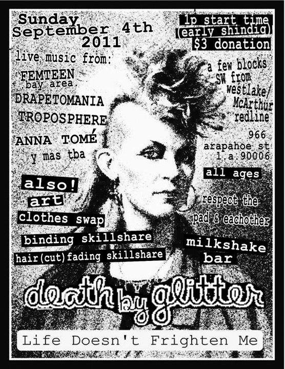 flyer for Death By Glitter event. black & white face with text details.