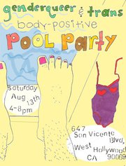 Flyer for pool party. stubbled legs with nail polish.