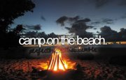 bonfire on a beach at night with text 'camp on the beach' at the center of the page